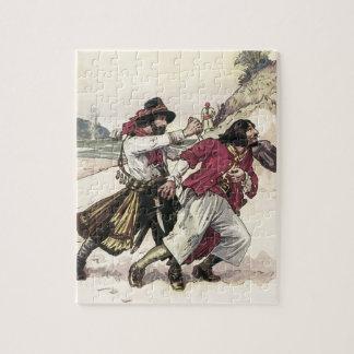Vintage Piraten, Duell bebauen den Tod auf dem Puzzle