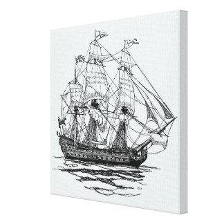 Vintage Piraten Galleon, Skizze eines Schiffs des Leinwanddruck
