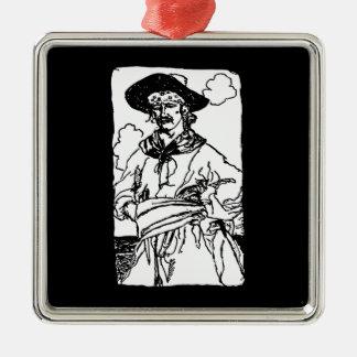 Vintage Piraten-Skizze eines Kapitäns durch Howard Quadratisches Silberfarbenes Ornament