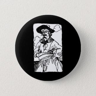 Vintage Piraten-Skizze eines Kapitäns durch Howard Runder Button 5,1 Cm