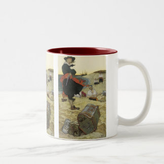 Vintage Piraten, William Kidd, der Schatz begräbt Zweifarbige Tasse