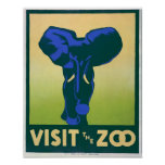Vintage Plakate, besuchen das Plakat des Zoo-Elefa