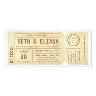 Vintage Playbill Karten-Hochzeits-Einladung 10,2 X 23,5 Cm Einladungskarte