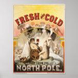 Vintage polare Bären, Lager-Bier Anzeige-Druck Plakatdruck