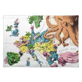 Vintage politische Cartoon-Karte von Europa (1877) Tisch Set
