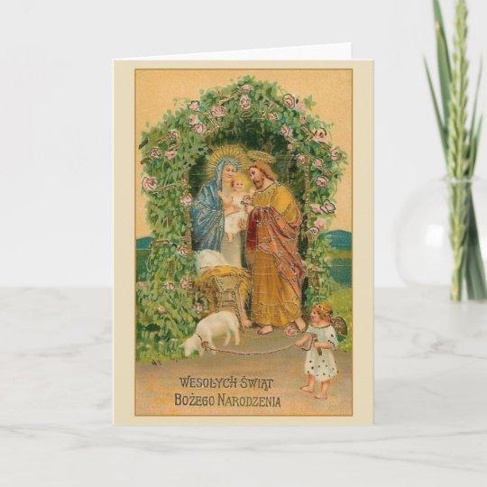 Vintage polnische religiöse Weihnachtskarte | Zazzle
