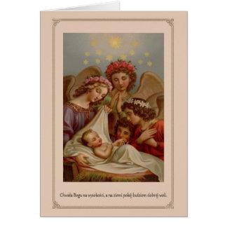 Vintage polnische religiöse Weihnachtskarte Grußkarte