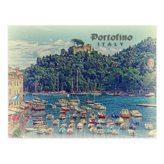 Vintage Portofino Ansicht, Italien Postkarte