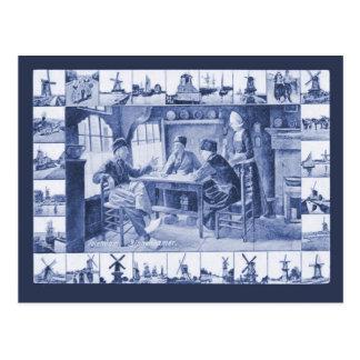 Vintage Postkarte der Replik, blaue Delft-Entwürfe