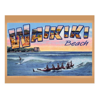Vintage Postkarte des Waikiki Strand-Vereins