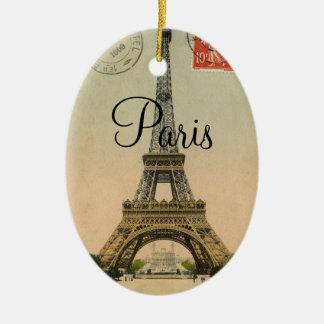 Vintage Postkarte Eiffel-Turm-Paris Frankreich Keramik Ornament