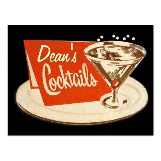 Vintage Postkarte - Martini-Glas-Cocktails