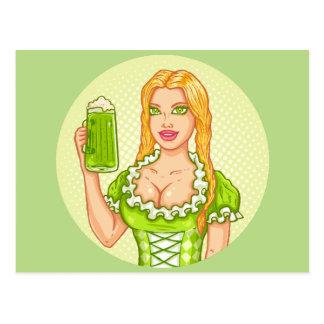 Vintage Postkarte mit Mädchen und Bier