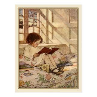 Vintage Postkarte mit süßer Mädchen-Lesung