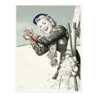 Vintage Postkarte mit Winter-Ferien-Druck