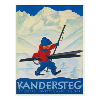 Vintage Postkarte von den Schweizer Alpen
