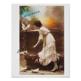 Vintage Postkarten-Frau Vive Marie leben lang Poster
