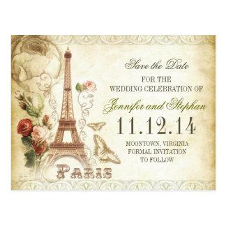 VINTAGE POSTKARTEN PARIS SAVE THE DATE