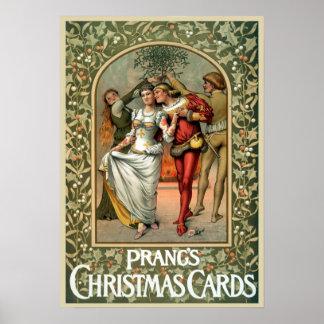 Vintage Prangs Weihnachtskarten-Anzeige Poster