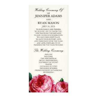 Vintage Programm-Gestell-Karte der Rosen-| Wedding Werbekarte