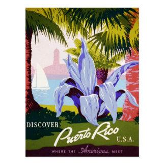 Vintage Puerto- Ricoreise - tropischer Kunst-Deko Postkarte