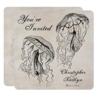 Vintage Quallen-Strand-Hochzeits-Einladung Karte