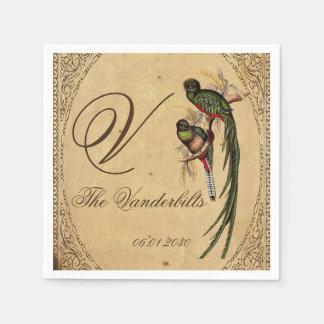 Vintage Quetzal-Vogel-Hochzeits-Serviette Serviette