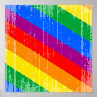 Vintage Regenbogen-Streifen Posterdruck