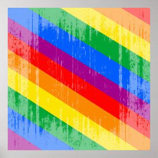 Vintage Regenbogen-Streifen Poster