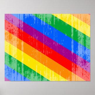 Vintage Regenbogen-Streifen Plakat