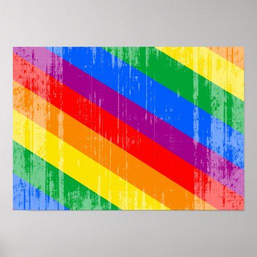 Vintage Regenbogen-Streifen Plakate
