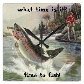 Vintage Regenbogenforelle-Fische, Fischer-Fischen Quadratische Wanduhr