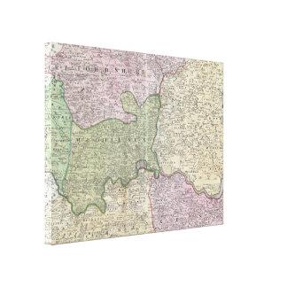 Vintage regionale Karte Londons England (1741) Leinwanddruck