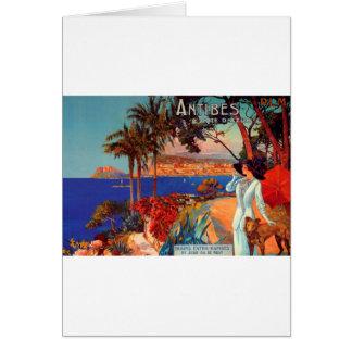 Vintage Reise Antibes Cote d'Azur Karte