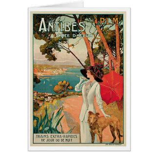 Vintage Reise-Anzeige Antibes Frankreich Karte