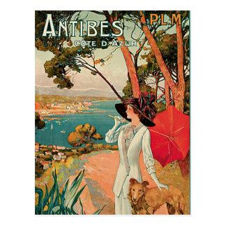 Vintage Reise-Anzeige Antibes Frankreich Postkarte