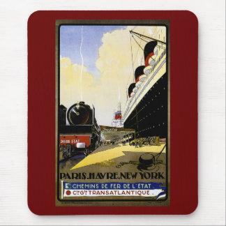 Vintage Reise-Anzeige Cie Gie Transatlantique Mousepad