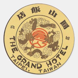 Vintage Reise Asien, großartiges Hotel, Taipeh, Runder Aufkleber