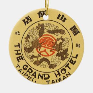 Vintage Reise Asien, großartiges Hotel, Taipeh, Rundes Keramik Ornament