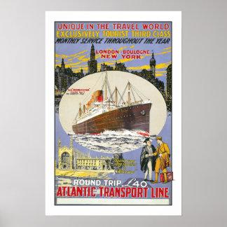 Vintage Reise, atlantische Transport-Linie Poster