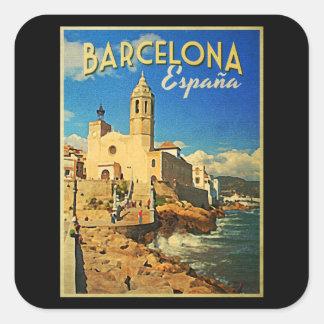 Vintage Reise Barcelonas Spanien Quadratsticker
