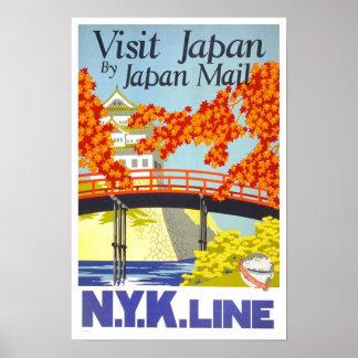 Vintage Reise Besuchs-Japans Poster