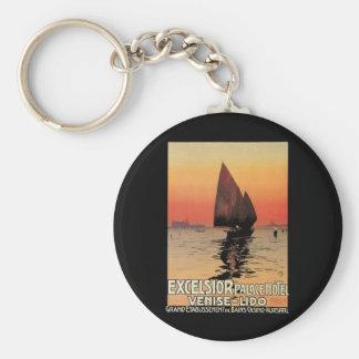 Vintage Reise, Boote am Hobelspäne-Palast Venedig Schlüsselanhänger