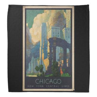 Vintage Reise Chicago zu zentralen Linien New York Halstuch