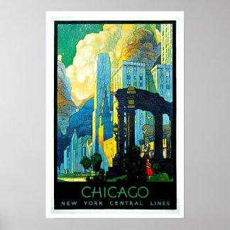 Vintage Reise Chicagos Illinois Poster