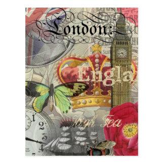 Vintage Reise-Collage Londons England Postkarte