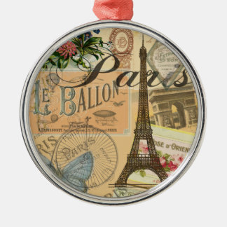 Vintage Reise-Collage Paris Frankreich Silbernes Ornament