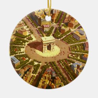 Vintage Reise, der Arc de Triomphe Paris Rundes Keramik Ornament