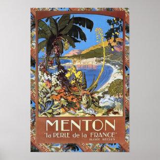 Vintage Reise der Replik, Menton französisches Riv Plakat