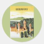 Vintage Reise, deutsches Schloss, Bayern Deutschla Runde Sticker